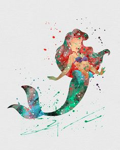 Ariel, Little Mermaid 3 Watercolor Art Print - Disney Forever - Disney Magic, Disney Pixar, Disney Amor, Arte Disney, Disney And Dreamworks, Disney Love, Disney Characters, Disney Mickey, Disney Little Mermaids
