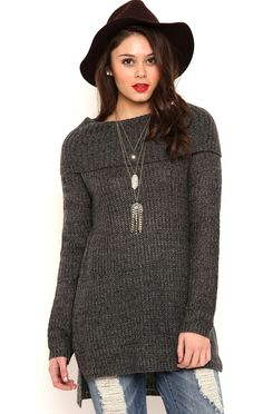 Deb Shops Long Sleeve Cable Knit Tunic Sweater with Cowl Neck $14.75