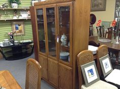 Oak China Cabinet - compact cabinet will suit smaller spaces . Very clean. Item 00003-64. Price $295.00    - http://takeitorleaveit.co/2017/01/07/oak-china-cabinet-2/