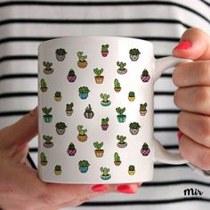Mini Cactus Mug Plants Green Cacti Cactuses Fun Cute Kawaii Pattern Love Mug Coffee Mug Tea Mug Funny Tumblr Adorable Little Pattern Doodle