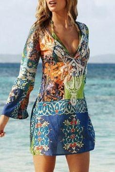 2016 Summer Style Women Sexy Swimsuit Cover Up Long Sleeve Bikini Cover Ups Chiffon Flower Beach Mini Dress Robe Vestidos - XL Source by CreativeDreamscape cover ups Beachwear Vacation Dresses, Beach Dresses, Casual Dresses, Dress Beach, Beach Outfits, Beach Tunic, Beach Skirt, Outfit Beach, Summer Outfits