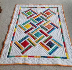 Baby Quilt, Baby Shower Gift, Lap Quilt by SheilaAnnsShoppe on Etsy Log Cabin Quilts, Lap Quilts, Scrappy Quilts, Small Quilts, Mini Quilts, Quilt Baby, Patch Quilt, Quilt Blocks, Quilting Projects