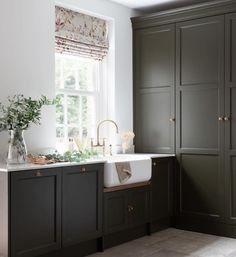 This stylish utility/ boot room by @krantzdesigns1 offers an on trend colour palette with the cabinetry painted in Little Greene 'Toad' which perfectly complements the American Walnut and brass touches including our Athenian mixer and rinse in aged brass 📷 @paullmcraig #perrinandrowe #designinspo #utilityroomdesignideas #utilityroomideas #utilityroomlayoutideas #homedecor #homedesignideas #interiordesign #homeinspiration #brasstaps #laundryroom Utility Room Inspiration, Bathroom Inspiration, Kitchen Taps, New Kitchen, Little Greene Paint, Loft Bathroom, Country House Interior, Bathroom Collections, Quality Kitchens