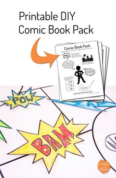 A fun way to help kids be creative - Printable make your own comic book pack www.createinthechaos.com