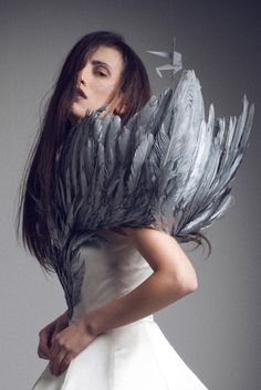 Fairy tale fashion fantasy. Jean Loius Sabaji Couture | feather detail