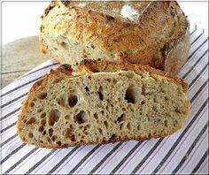 Kovászos teljes kiőrlésű kenyér Banana Bread, Bakery, Paleo, Cooking, Recipes, Food, Tej, Inspiration, Kitchen