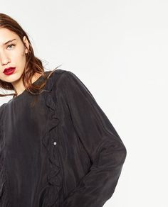 Image 4 of LONG SLEEVE FRILLY BLOUSE from Zara
