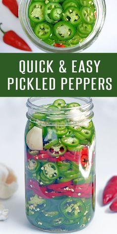Quick and Easy Pickled Peppers - Foodie and WineQuick and easy pickled peppers recipe. Ready in about 30 minutes. Add to hamburger recipes, sandwiches recipes, and pizza recipes to kick them up a notch. Use your favorite peppers- Jalapeno, Serrano o Easy Pickled Peppers Recipe, Pickled Jalapeno Recipe, Pickled Hot Peppers, Canning Peppers, Pickling Hot Peppers Recipe, Pickled Veggies Recipe, How To Pickle Peppers, Quick Pickle Recipe, Hot Pepper Recipes