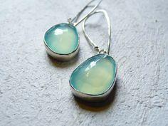 aqua chalcedony earrings rose cut bezel set blue jewelry