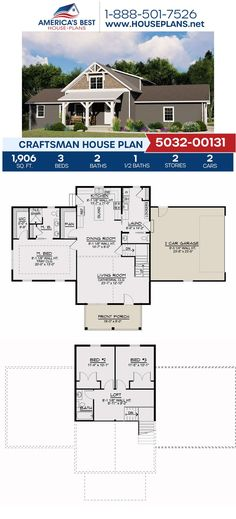 Covered in Craftsman details, Plan 5032-00131 is fulfilled with 1,906 sq. ft., 3 bedrooms, 2.5 bathrooms, a covered porch, a loft, and a kitchen island. Find more information about this plan on our website. #houseplans #craftsmandesign #dreamhome #buildingyourdream