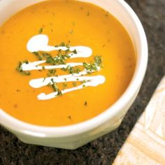Enjoy fall weather with a squash-rich, creamy soup that's perfect for preparing the day ahead.