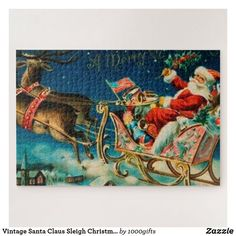 Vintage Santa Claus Sleigh Christmas Holiday Jigsaw Puzzle Vintage Santa Claus, Vintage Santas, Vintage Christmas, Vintage Gifts, Retro Vintage, Holiday Cards, Christmas Cards, Retro Christmas Decorations, Make Your Own Puzzle
