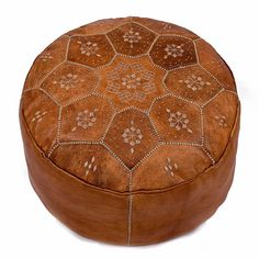 morrocan leather ronde pouffe cover by bohemia   notonthehighstreet.com