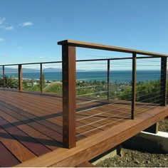 Deck railing isn't just a safety and security feature. It can add a spectacular aesthetic to mount a decked location or porch. These 36 deck railing ideas show you how it's done! Metal Deck Railing, Deck Railing Design, Patio Railing, Cable Railing, Deck With Pergola, Pergola Patio, Deck Design, Railing Ideas, Iron Pergola