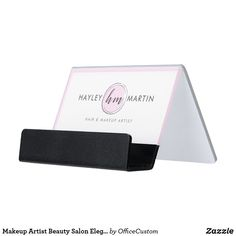 Shop Makeup Artist Beauty Salon Elegant Modern Pink Desk Business Card Holder created by OfficeCustom. Unique Business Cards, Business Card Holders, Hair And Makeup Artist, Hair Makeup, Pink Desk, Monogram Styles, Personal Branding, Clear Acrylic, Salons