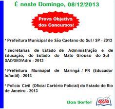 Convocação Provas 08 / 12 / 2013 - parte 01