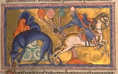 """From the Aberdeen Bestiary. A word about the tiger: """"The horseman has stolen a cub and has been pursued by the tiger. The thief can stop the tiger by a trick: he throws down a glass sphere and the tiger, seeing its own reflection, stops to nurse the sphere like a cub. She ends by losing both her revenge and her child."""""""