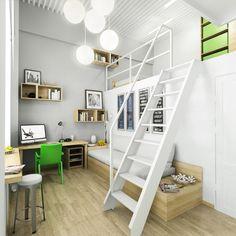 Escritório em um quarto com mezanino.