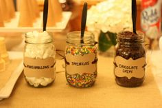 Ice Cream Sundae Toppings in Mason Jars