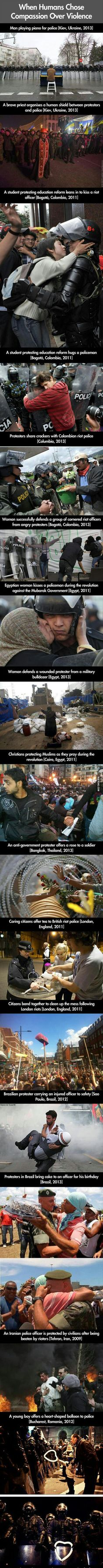 When Human Chose Compassion Over Violence... These pictures brighten up my day - 9GAG