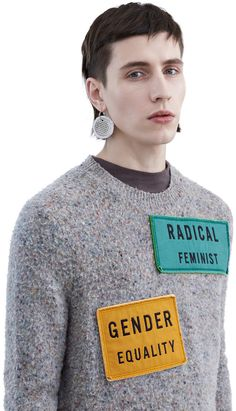 Peele luxurious hand pilled cashmere blend sweater features the season's slogans #AcneStudios #FW15 #menswear