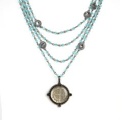 The Magdalena has been a VSA Classic as it is most versatile in style Wear open and long or layered The turquoise beads are reminiscent of sandy white beaches & Carribean oceans -Plated Bronze -Medallion is covered with a resin finish & is detachable - Length 12.5-14.5 inches plus medallion -Toggle Closure - Faceted Bicone crystals beads that add a POP of color -Handmade in San Miguel Allende Turquoise Water, Turquoise Beads, Turquoise Necklace, Crystal Beads, Crystals, White Sand Beach, Beaches, Color Pop, Resin