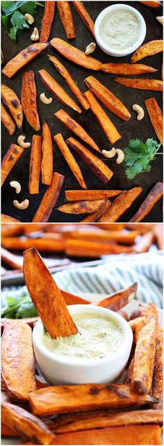 Baked Sweet Potato Fries with Spicy Cashew Dipping Sauce Recipe on twopeasandtheirpod.com These fries are easy to make and you will LOVE the dipping sauce! Perfect for a party appetizer or healthy snack!