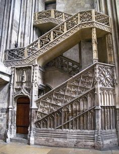 Booksellers staircase Rouen Cathedral  Rouen, France