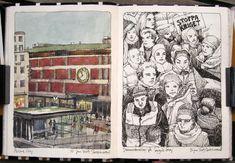By Nina Johansson Sketchbook Layout, Moleskine Sketchbook, Artist Sketchbook, Sketchbook Inspiration, Sketchbook Ideas, Artist Journal, Illustration Art, Illustrations, Cool Sketches