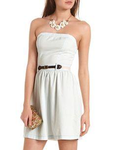 Belted Denim Tube Dress: Charlotte Russe