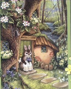 "Rabbit Illustration from ""The Fairies' Cook"" by Shirley Barber "" Art And Illustration, Rabbit Illustration, Bunny Art, Cute Bunny, Les Moomins, Fairytale Art, Beatrix Potter, Whimsical Art, Cute Art"