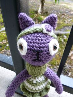 Etsy の Violet the Cat Crocheted Doll by CurlyTopCorner