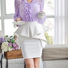 розовые doll® женские баски складки hjgh талии BODYCON юбку – RUB p. 1 465,20