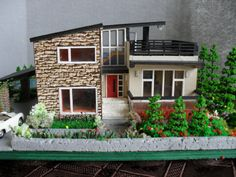 Modern Miniature Model House with Property HO Scale by EmmyNHiros house, Your place to buy and sell all things handmade