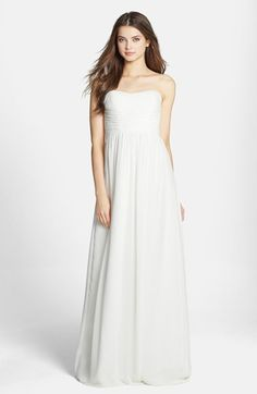 Donna Morgan 'Stephanie' Strapless Ruched Chiffon Gown available at #Nordstrom