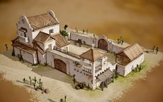 ArtStation - Villa (Spanish or Mexican) by Ilya Shigin Fantasy Castle, Fantasy House, Fantasy Rpg, Minecraft Architecture, Architecture Design, Old West, Medieval Houses, Building Concept, Minecraft Designs