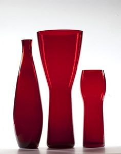 Zbigniew #Horbowy, wazony-butle z barwnego szkła, 1960-61 Glass Collection, Red Color, Blond, New Look, Glass Art, Art Deco, Porcelain, Polish, How To Make
