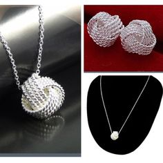 925 Silver Earrings and Necklace Set 925 Sterling Silver Mesh Knot Earrings and Necklace Set Jewelry