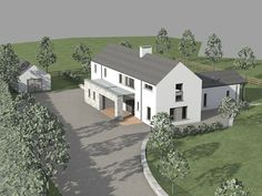 This project was conceived as a contemporary variation on the traditional 2 storey gabled rural dwelling.  The design employs single storey elements to enclose external space adjacent to the 2 storey main volume of the dwelling.  The design proposal was devised to maximise passive solar gain, by maximising glazing on south rear elevation.  This glazing is overhung by roofs to minimize overheating in summer.<&#...