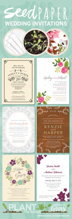 Plant love & let the memory of your wedding day live on with seed paper wedding invitations! Available in a variety of customizable colors and designed with matching favor tags, place cards, menus & more, there is something for every bride & groom to be. For truly green invitations, seed paper is a beautiful eco-friendly choice. #seedpaper #weddinginvitations #ecofriendly