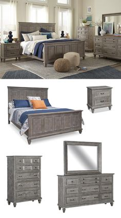 Refined design meets casual and rustic appeal in the Lancaster Collection. Pine solids are crafted into handsome beaded panels on the tall headboard and footboard of the Panel bed and are supported by raised turned feet. An updated Dovetail Grey finishes the wood and is accented by Weathered Bronze pulls. Browse the Lancaster Collection online or in-store at Great American Home Store in Memphis, TN, and Southaven, MS. #bedroom #masterbedroom #bedroomfurniture #bed #dresser #nightstand
