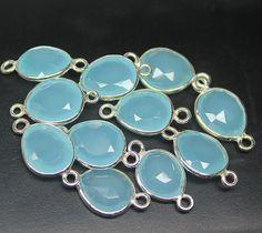Aqua Chalcedony Silver Bezel Connectors