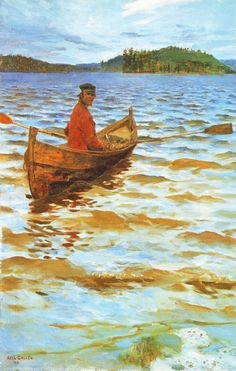 Akseli Gallen-Kallela aprilie 1865 - 7 martie pictor şi grafician finlandez - Rowing to the Shore Seascape Art, Merian, Boat Painting, Chur, Nautical Art, Scandinavian Art, Museum Of Fine Arts, Rowing, Beautiful Paintings
