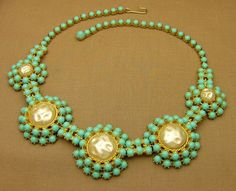 Schiaparelli Necklace with Faux Turquoise and Faux Baroque Pearls #Schiaparelli