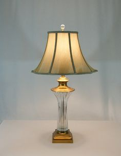 Lead Crystal & Brass Table Lamp. Ribbed Cut Crystal Thick