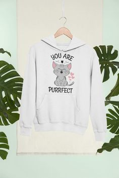 Cute Cat Purfect Hoodie Funny Animal Tee Cat Parent Gift | Etsy Best Clothing Brands, Cute Rats, Parent Gifts, Hoodies, Sweatshirts, Funny Animals, Cats, Clothes, Outfits