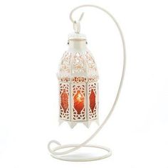White Amber Shabby Morrocan Chic Hanging Candle Lantern Wedding Centerpieces