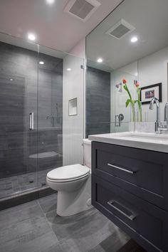 Contemporary 3/4 Bathroom with Pental Meteor Grigio 12x24, Flush, High ceiling, slate tile floors, frameless showerdoor