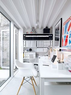 White home office. Very soothing workspace!