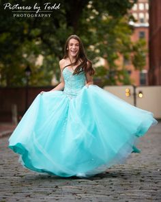 Capture her before she grows up! Fallon spins in her blue dress before the party for her bat mitzvah! Bat Mitzvah Dresses, Bat Mitzvah Themes, Blue Dresses, Formal Dresses, Ball Gowns, Pos, Hair Styles, Party, Pictures